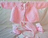 "knitted baby girl set ""SALE"""