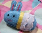 Sky Blue Chibi Bunny - Hand-stitched Felt Brooch
