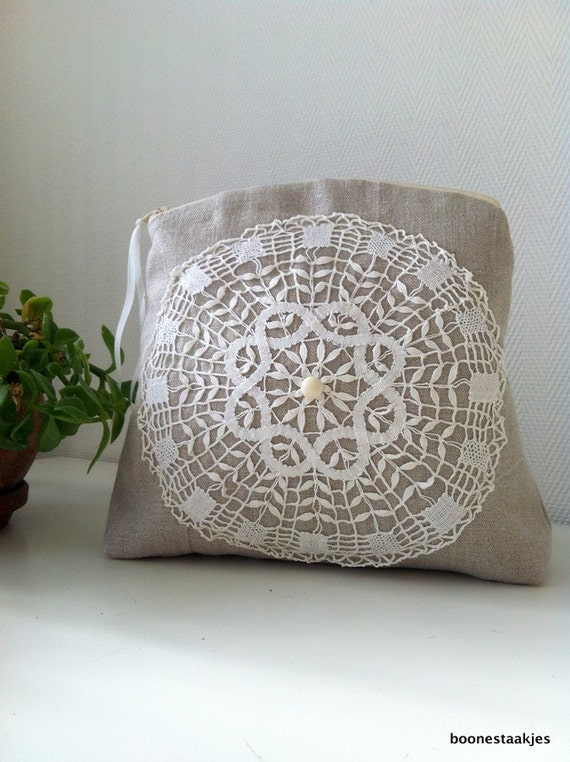 linen cosmetic bag, bag in bag, little purse, linen toiletry bag