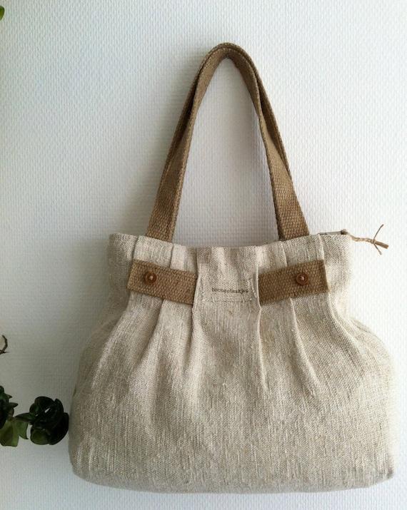 Pleated antique linen shoulder bag, purse, tote bag