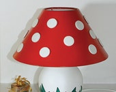 Little Mushroom. Lamp with white felt dots and one wooden bangle free of charge