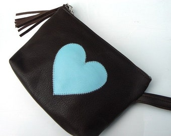 Brown and Blue Leather LOVE Heart Pouch, Date Kit Bag, Makeup Bag, Artist Pencil Case, Medium Size w/ Carry Strap, Belt Loop Clip, Zippered