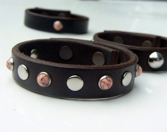 Brown Biker Leather Bracelet | Silver Flat & Coral Stud Riveted Wrist Band | Motorcycle Leather Cuff | Women's Fashion Accessories | Goth