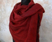 Long and Wide Lightweight Pure Linen Scarf SHIPPING WORLDWIDE Christmas gift Washed Red and Black melange SR14/70/190