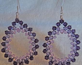 Swarovski crystal dangle earrings with sterling silver ear wires