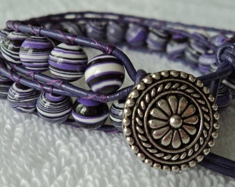 Purple, Black and White striped double wrapped greek leather bracelet