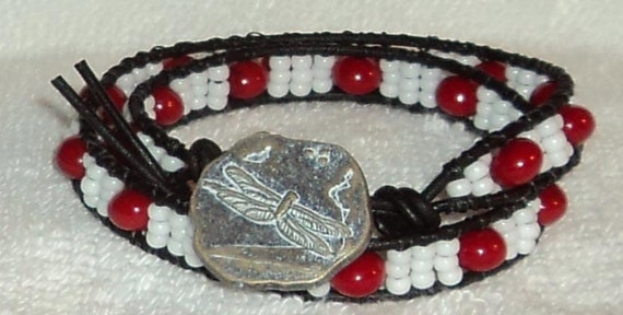 6 to 6.5 inch Red Coral and Miyuki seed bead double wrapped Greek leather bracelet