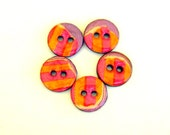 Five wood buttons in neon orange and pink colored stripes  5001