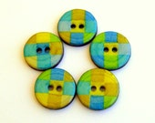 Five spring wood buttons in turquoise and lime green 1022