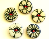 Five  wood buttons in black on white design with red 1015