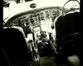 Vintage World War II Airplane Cockpit, Aviation Art ,10x10 Photograph, Airplane Decor, Airline, Vintage Military Aircraft, US Air Force