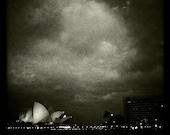 Sydney Opera House Australia No.1, Architecture, Night Photograph, 10x10, Home Decor,Clouds, Jorn Utzon