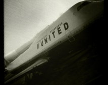 United Airlines 747 San Francisco Airport, Airplane Decor, Aviation, 10x10 Photograph, Sepia, Airplane, Travel, Aircraft, Boeing