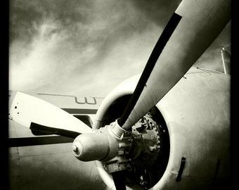 Vintage World War II Airplane Propeller Engine, Aviation, 10x10 Photograph, Vintage Airplane, Aircraft Wing, Airplane Decor
