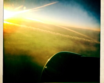 Sunrise From An Airplane 2, Airplane Decor, Aviation, 10x10 Photograph, Clouds, Aviation, Travel Art, Aircraft, Ailine, Airplane Window
