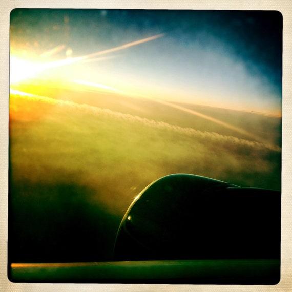 Sunrise From An Airplane 2, Airplane Decor, Aviation, 10x10 Photograph, Clouds, Aviation, Travel Art, Aircraft, Ailine, Airplane Window