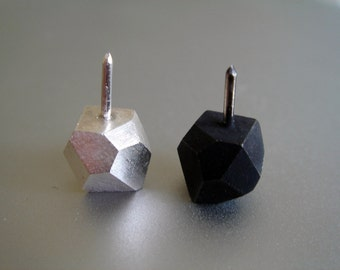 Faceted Nugget Pin / Oxidized Silver Nugget