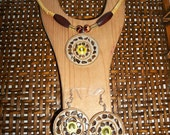 Mahogany Wood and Glass African Wodabbe Tribe Necklace Set