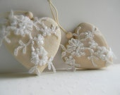 Set of two Romantic Hearts as Collectible Ornaments - Shabby Chic - Rustic Chic Decor - Unique Gifts - Home & Living - Weddings
