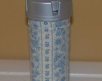 Country Blue Floral  QUILTED PILL BOTTLE  for meds, candy,  gift bag etc