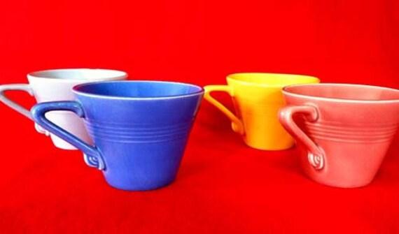 Rare Harlequin Fiesta ware cups// four colors//early Fiestaware 1936-42