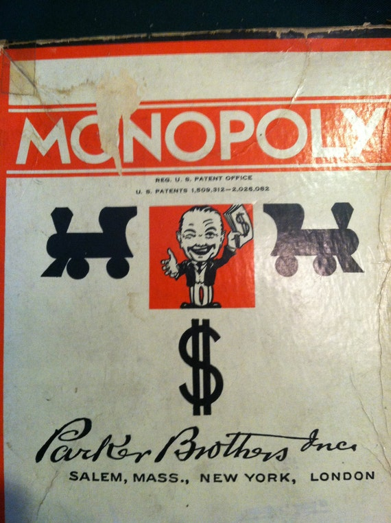 Vintage Monopoly game by Parker Brothers 1936 original pieces