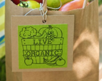 Eco Friendly Gift Tags, Earth Day, Live Organic, Think Global: Act Local, Upcycled, BLOW OUT SAE