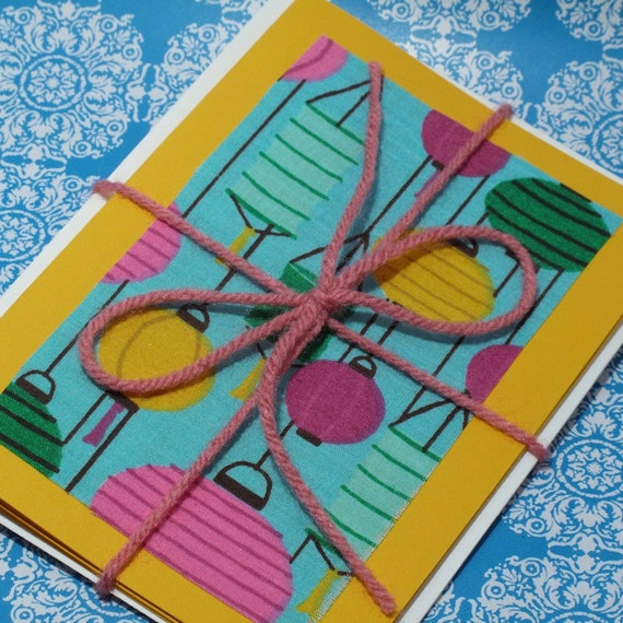 BLOW OUT SALE Paper Lantern Cards, Chinese Greeting Cards, Asian Cards, Hostess Gift, Paper Lanterns, Upcycled