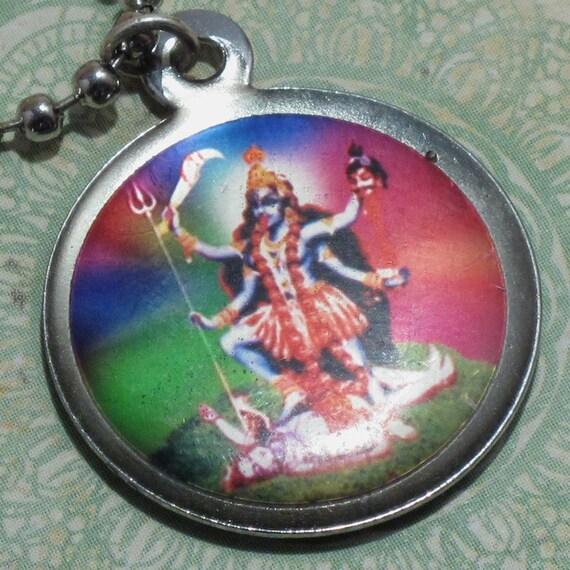 ON SALE Kali Durga Goddess Necklace, Dual Sided Pendant, Hindu Jewelry, Black Friday Etsy, Cyber Monday Etsy