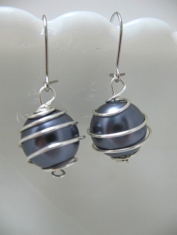 12mm Dark Gray Glass Pearl Wire Wrapped Dangle Earrings with Silver Plated Nickel/Lead Free Kidney Earwires