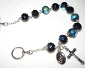 Rosary Bracelet, 8 inch, 8mm faceted black iridescent metallic glass beads, toggle clasp, item P1030931
