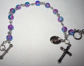Rosary Bracelet, 8 inch, 6mm clear blue and pink glass beads, toggle clasp, item P1030912