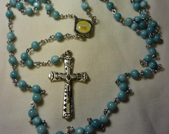 Blue opaque glass Rosary ,Our Lady of Grace Center 6mm beads. Item 010069