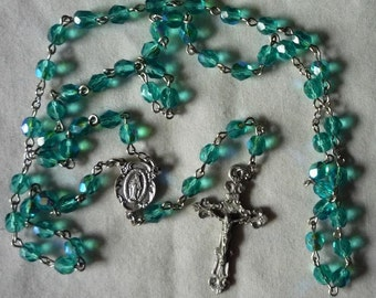 Blue Czech Crystal Rosary , Miraculous Medal Center 6mm beads. Item 010091
