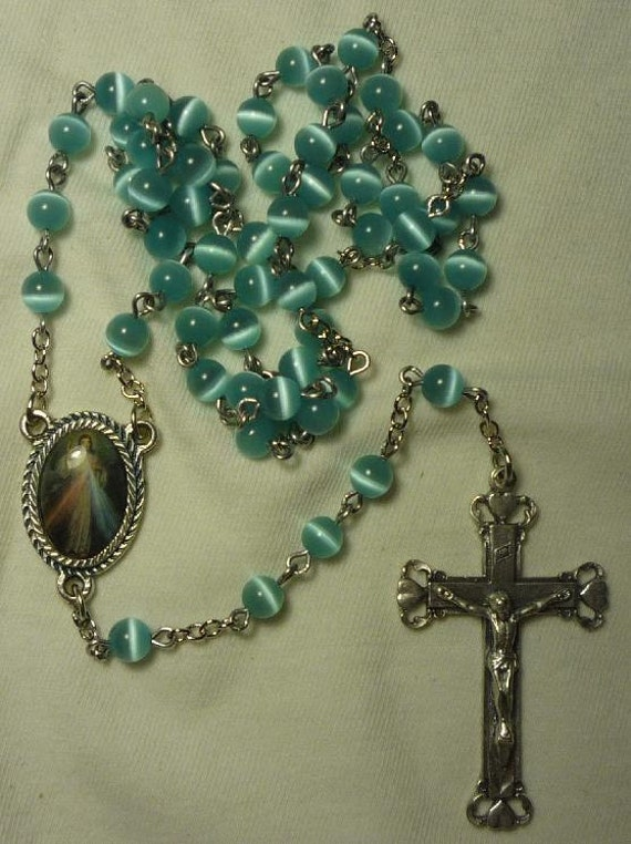 Rosary, Light Aqua Cat's Eye, Divine Mercy Center. Item 01042