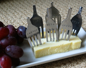 Set of 6 Hand Stamped Fork Cheese Markers-