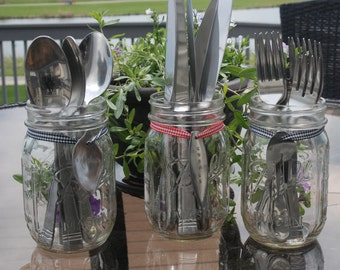 mason jar silverware holders with hand stamped markers perfect for any party - Silverware Holder