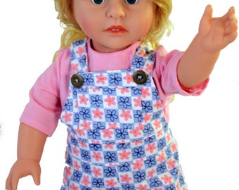 """American 18"""" doll Overall Jumper & Blouse Set"""