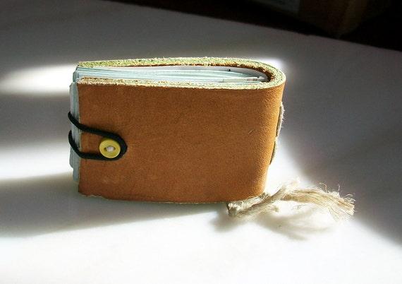Miniature Tan Leather Bound Journal