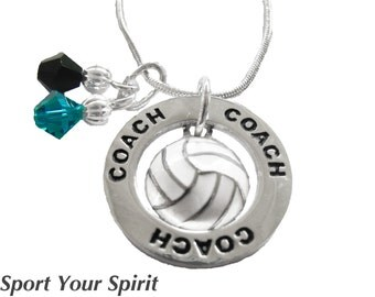 Personalized, Volleyball Necklace, Team Color, Swarovski Necklace, Volleyball Gift, Volleyball Jewelry, Captain, Coach Gift, (Made to Order)