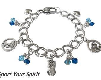 Personalized Swim Charm Bracelet, Team Color, Swarovski Bracelet, Girl Bracelet, Mom Bracelet, Swim Coach Chunky Bracelet (Made to Order)