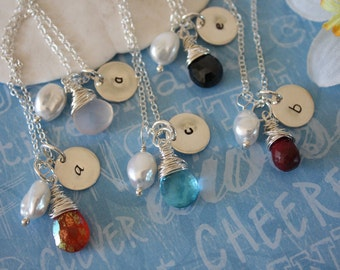 6 Bridesmaid Gifts, Personalized Necklace, Initial & Gemstone Sterling Silver Necklaces