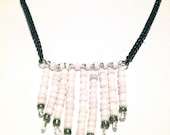 White Beaded Fringe Necklace