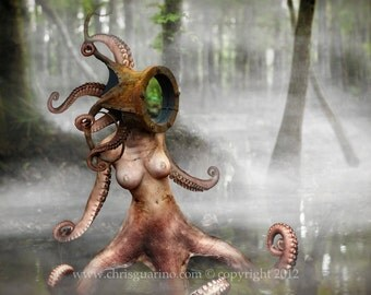"Octopus monster, swamp scene, fog, artistic nude, fantasy art, concept art, scifi, tentacle woman, steampunk, helmet, ""Mollusk in the Mist"""