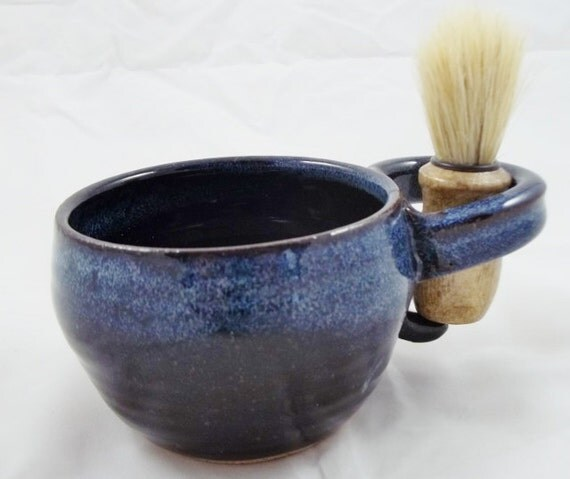 Mens or womens Shaving mug with shaving brush