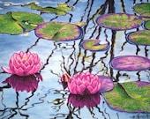 Original Art - Waterlilies - watercolor, ink, and pastel
