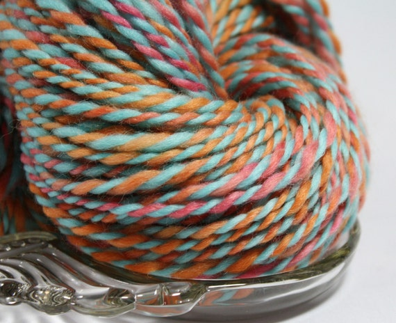 Handspun Yarn - Coral Reef - Punta Wool, Heavy Worsted Weight, 283 yards.