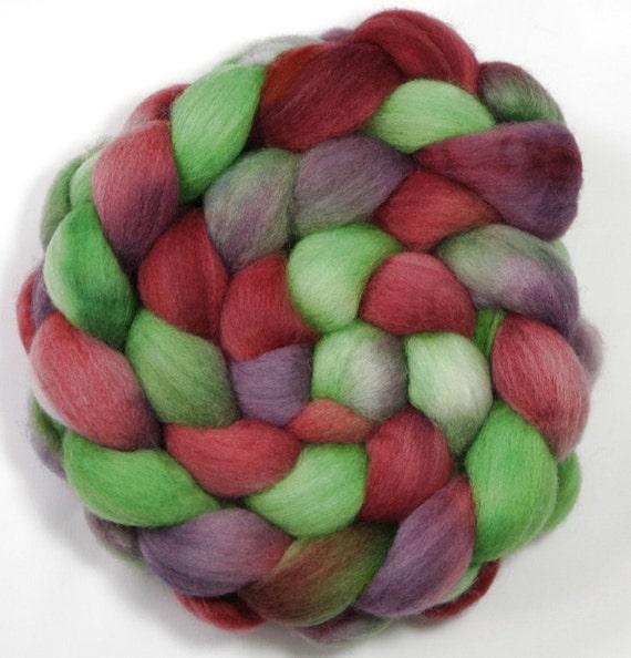 Handpainted Roving - Vino - Falkland Wool, 4 ounces.