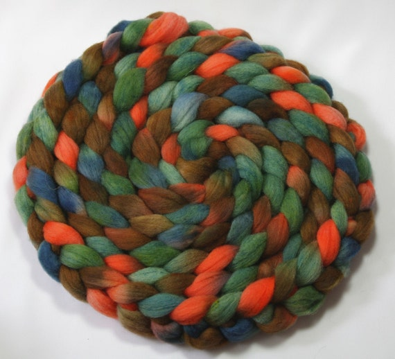 Reserved for Laura - Handpainted roving - Forest Floor - Merino Wool, 4 ounces