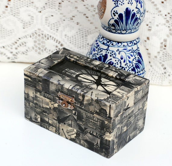 Paris in Black & White Collaged Wooden Jewelry Box